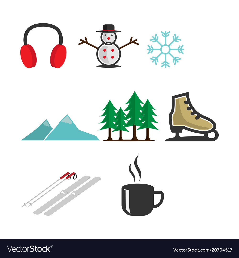 Colored winter icons