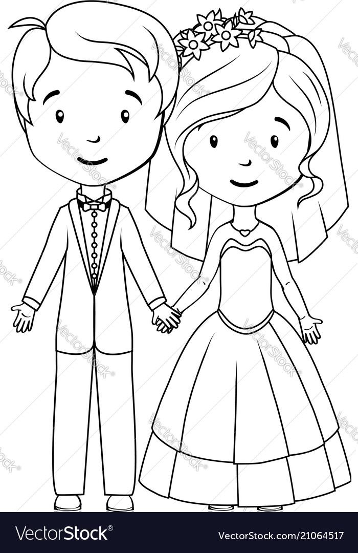 Coloring book cartoon groom and bride