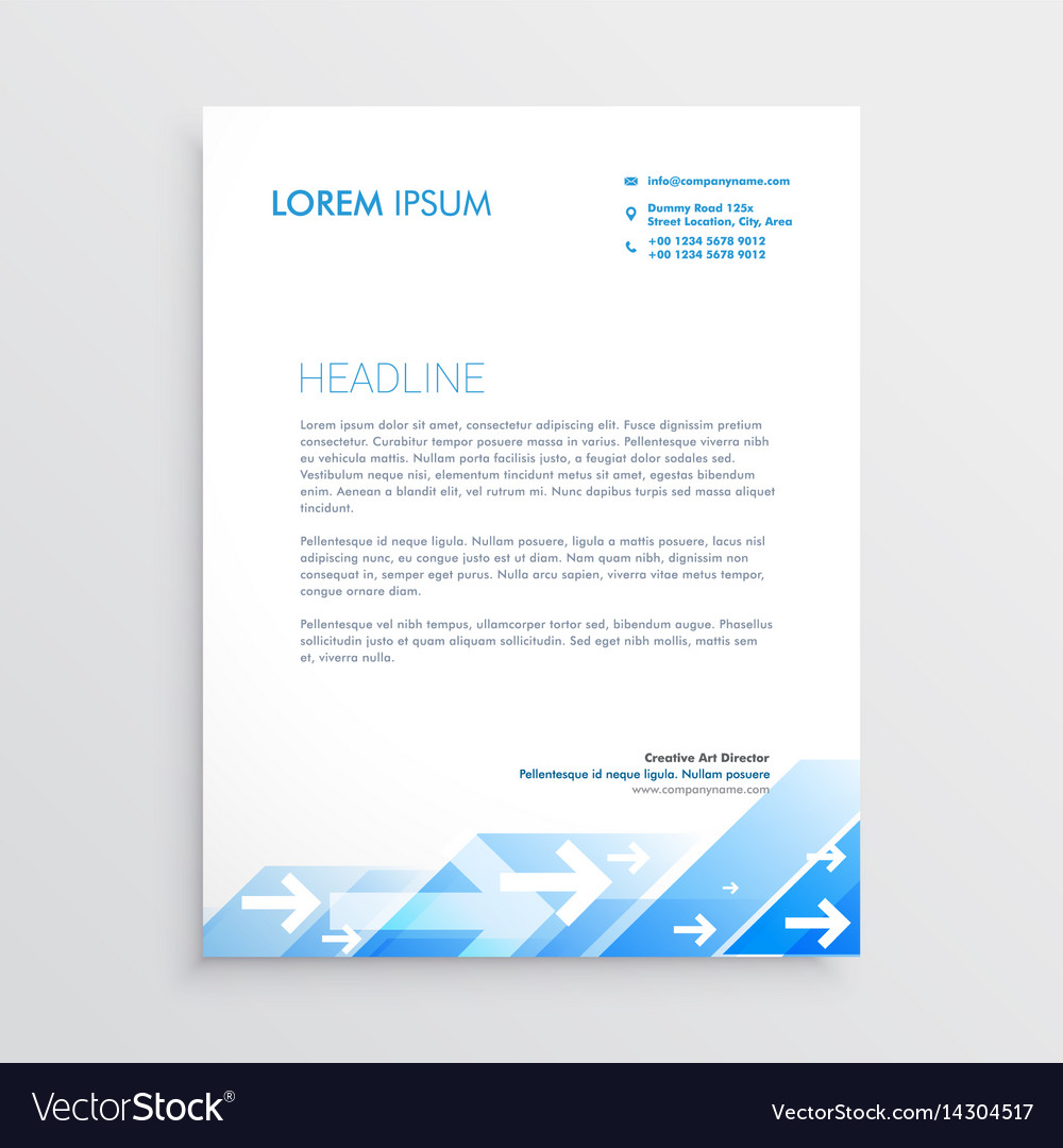 Creative letterhead design with abstract blue vector image