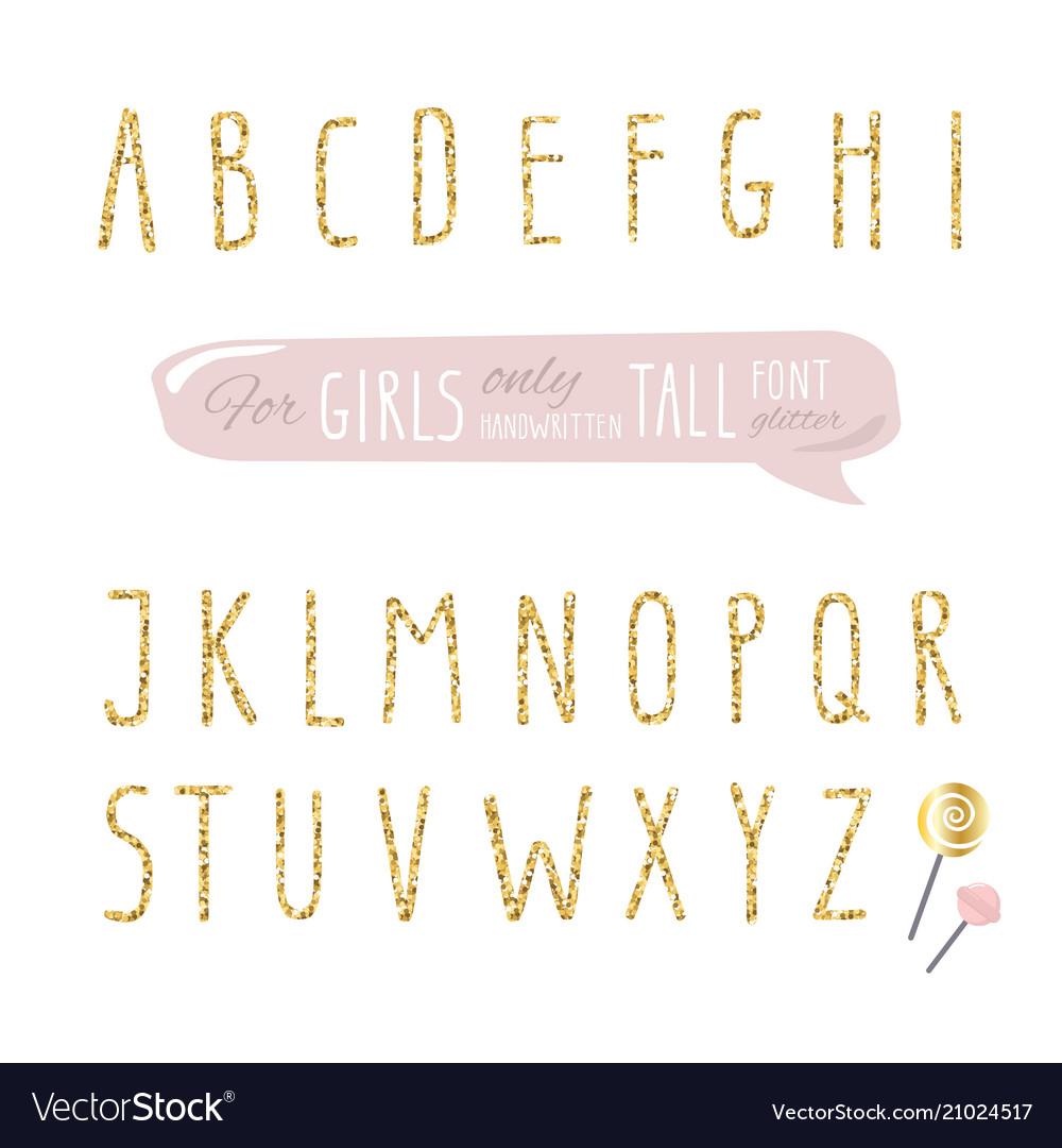 Cute hand drawn narrow glitter font for girls