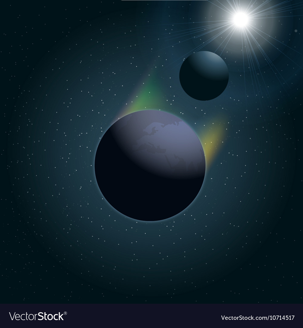 Digital planet earth icon with moon vector image