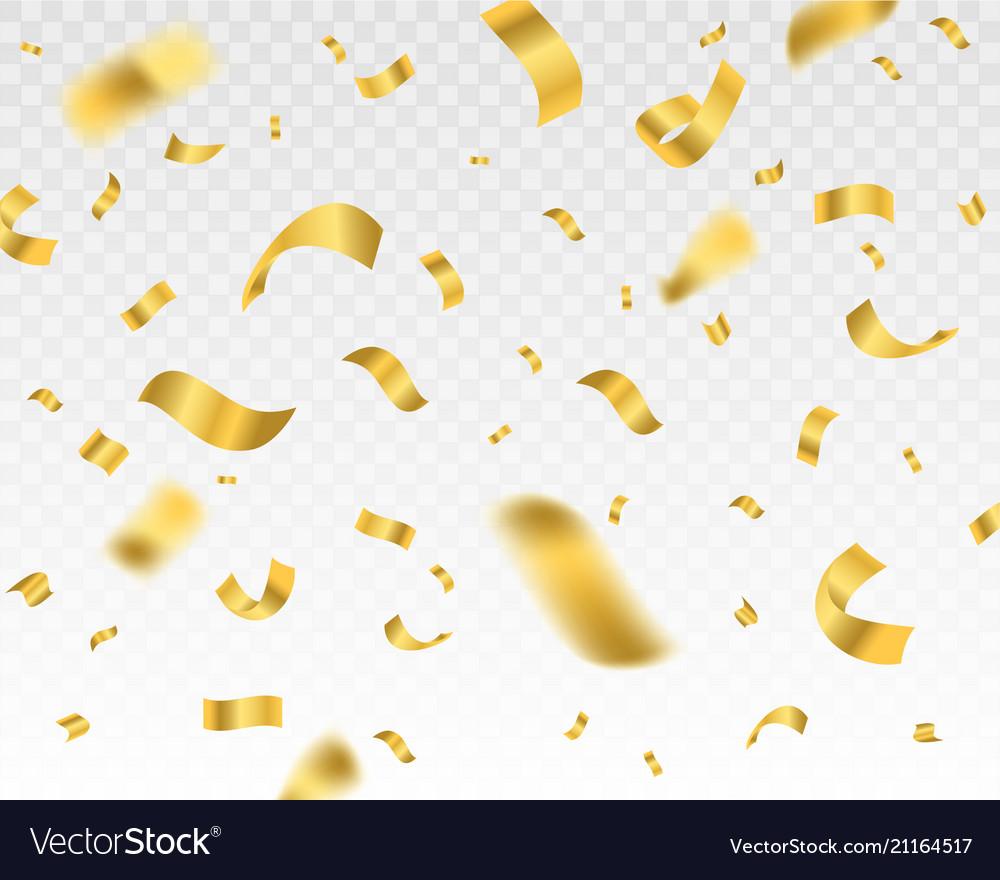Falling shiny golden confetti on a transparent