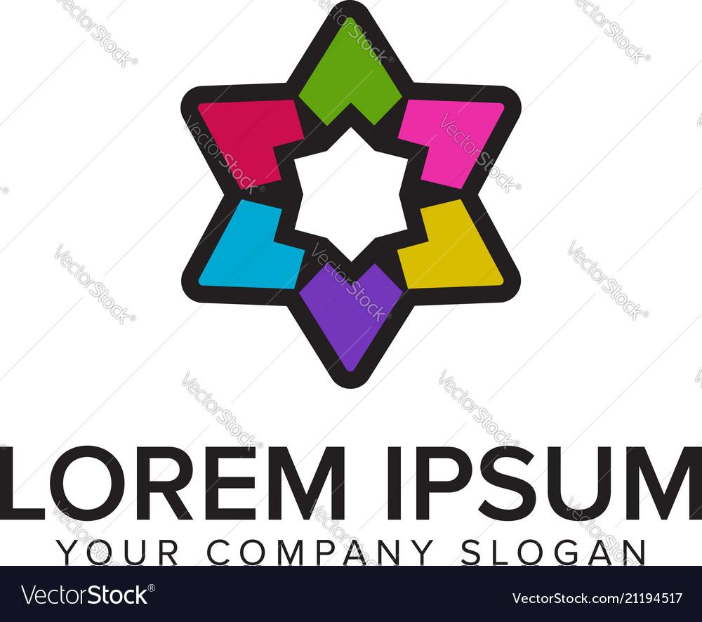 Graphic star logo with multicolor design concept