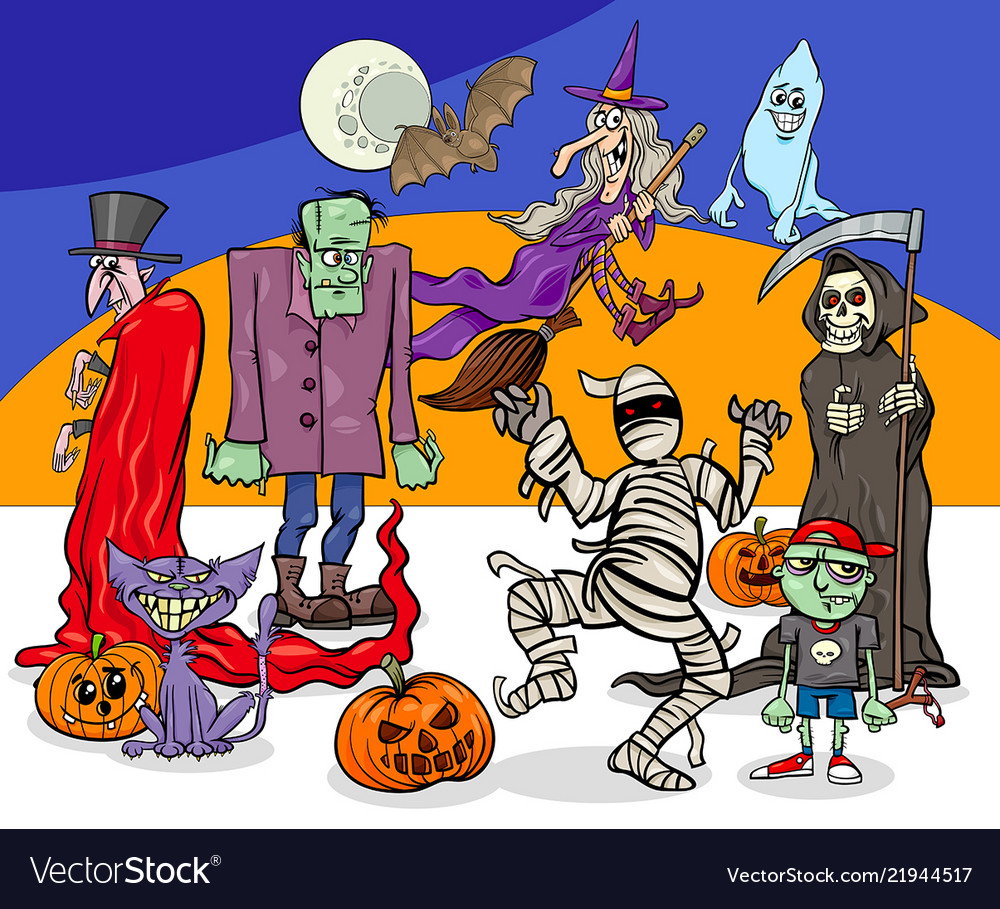 Halloween holiday cartoon spooky characters group