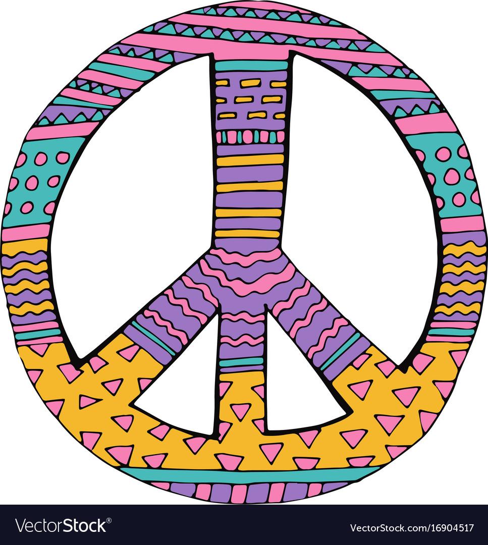 b4cf63433 Hippie peace symbol Royalty Free Vector Image - VectorStock