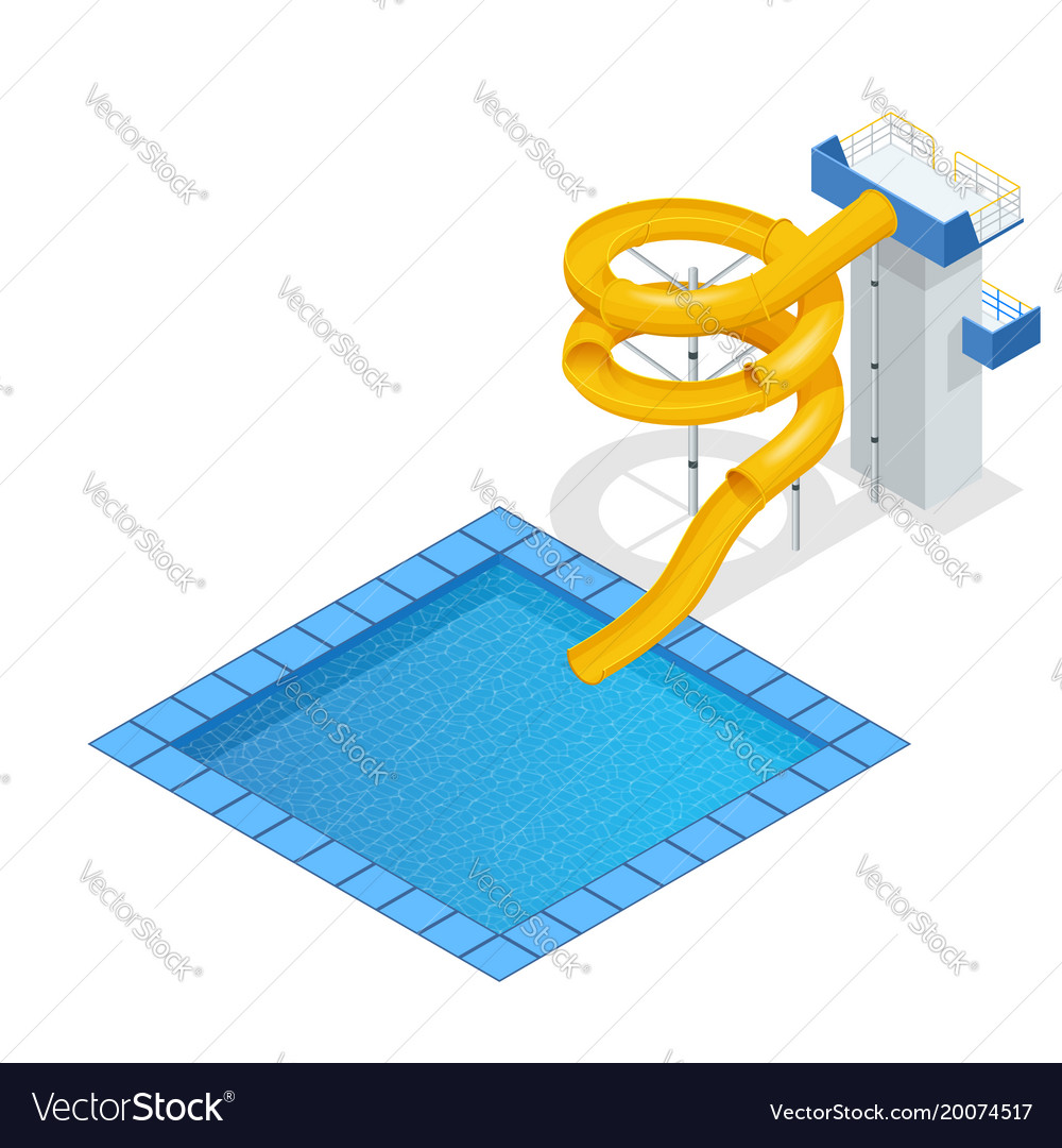 Isometric colourful water slide and tubes with vector image