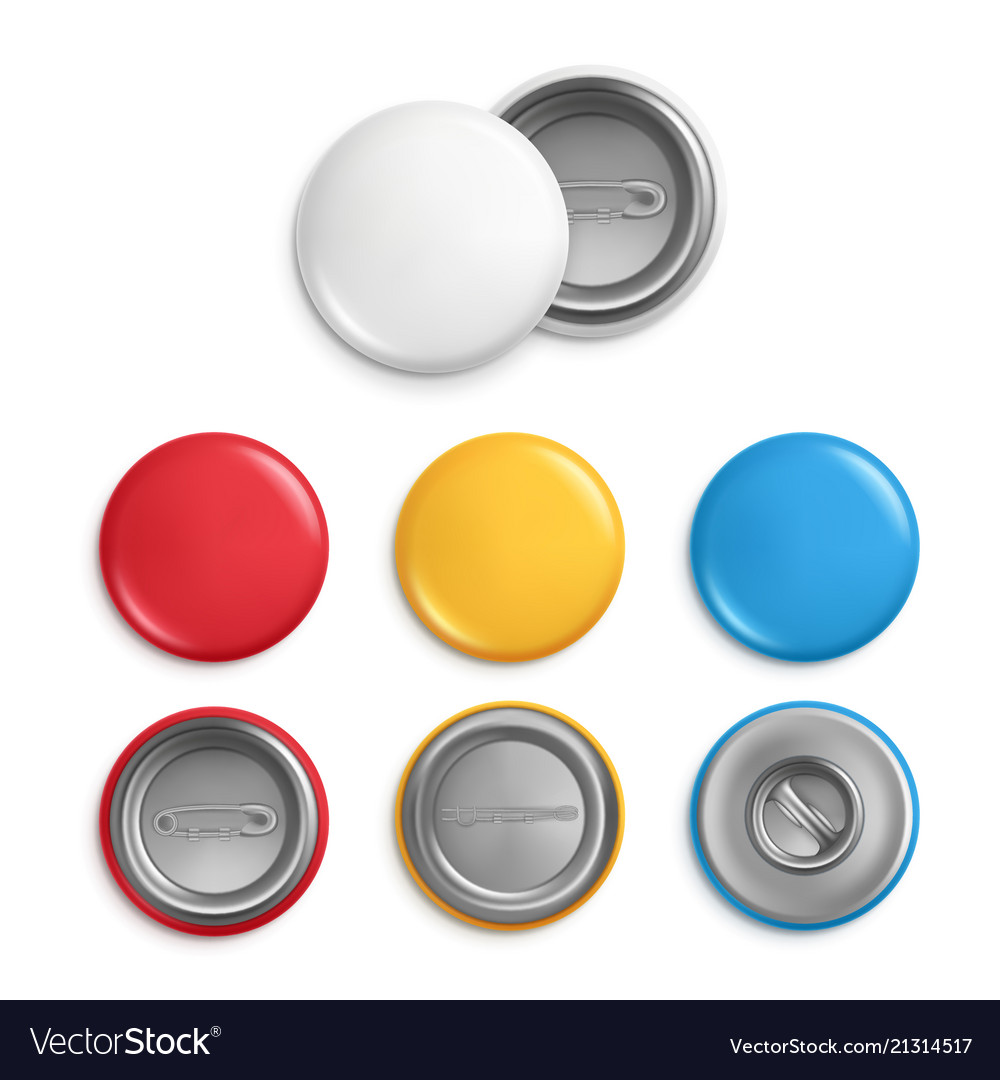 Metallic round badges realistic of