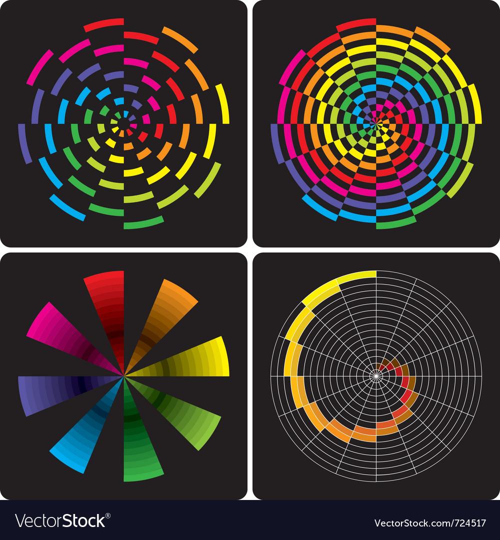 Set of abstract colorful circular shapes vector image