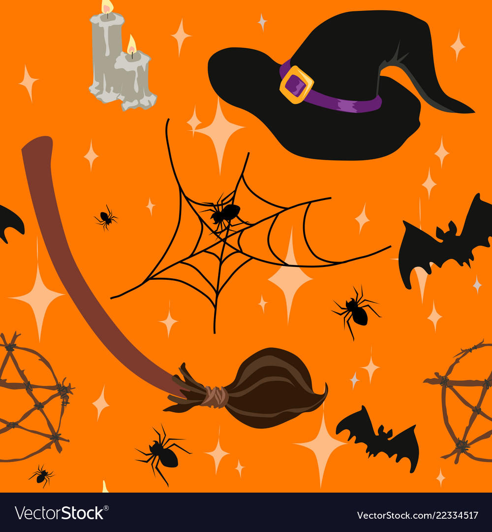 wicca witchcraft halloween seamless pattern vector image