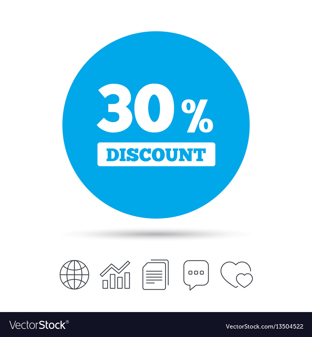 30 percent discount sign icon sale symbol