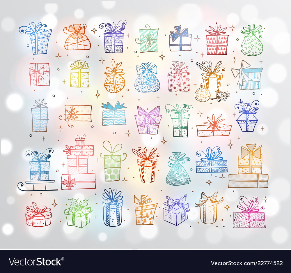 Big set colored doodle christmas gift boxes on