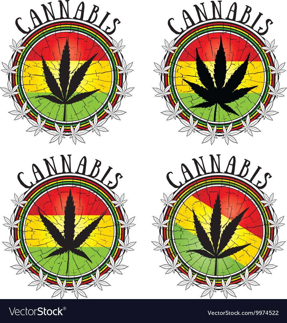 Cannabis leaf design jamaican flag background vector image