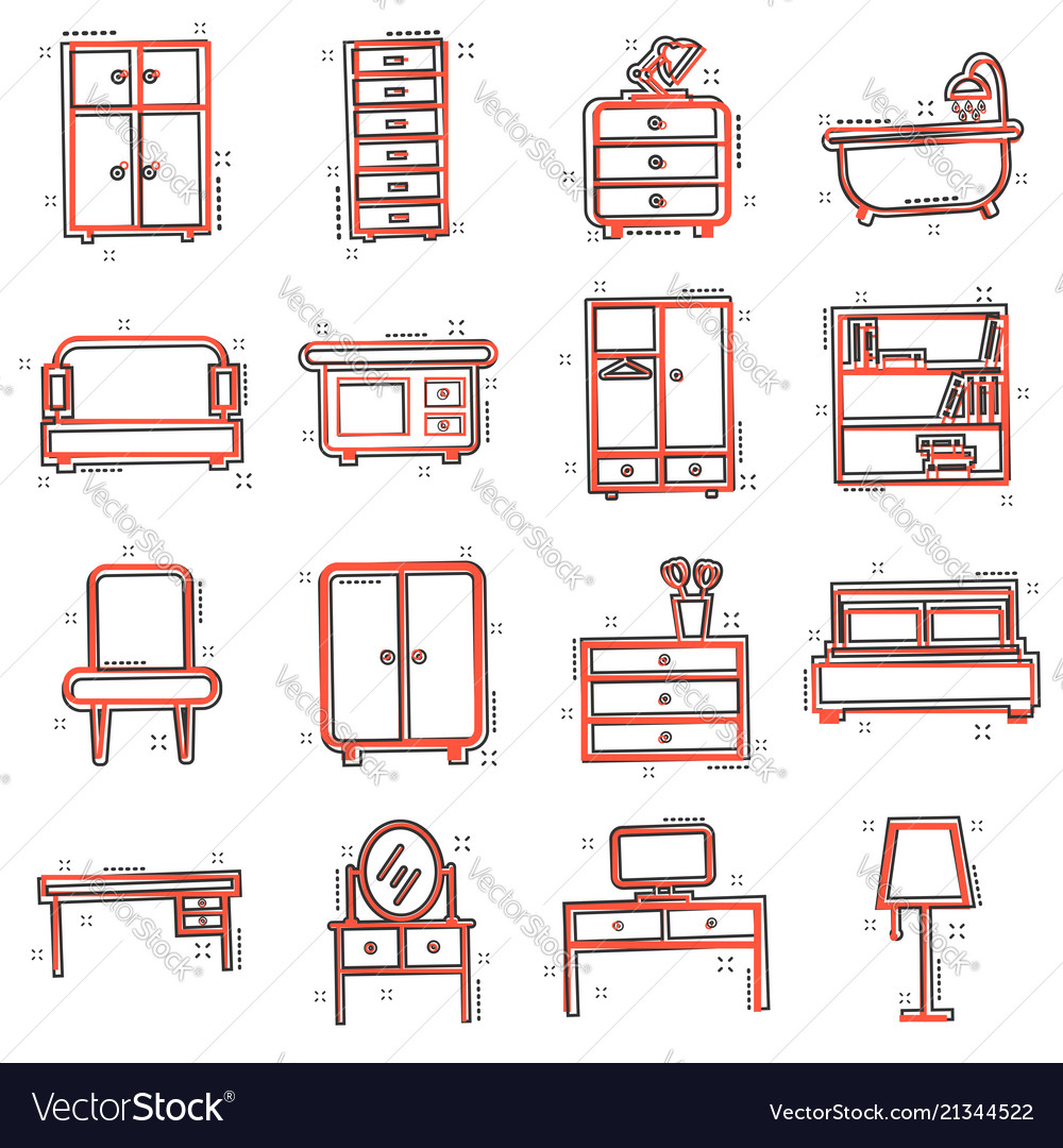 Cartoon furniture set icon in comic style home