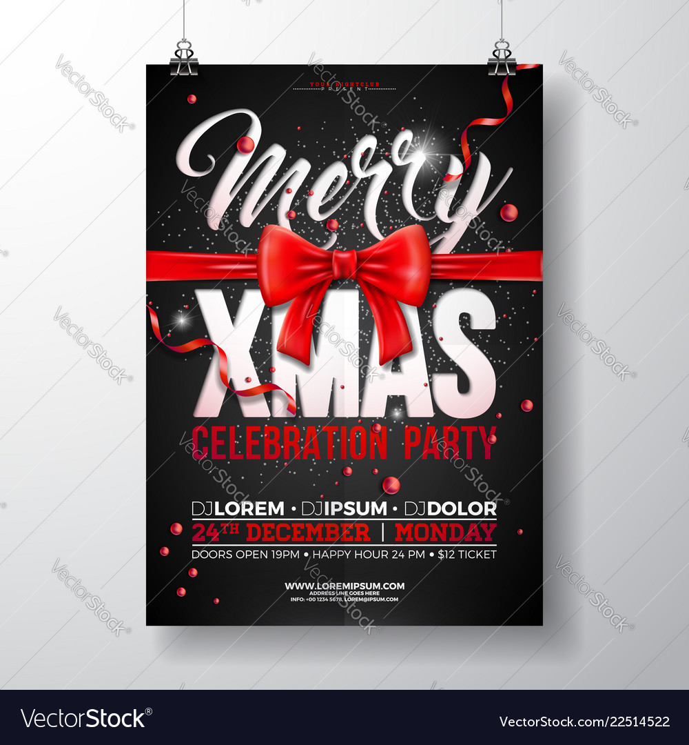 Christmas party flyer with red bow