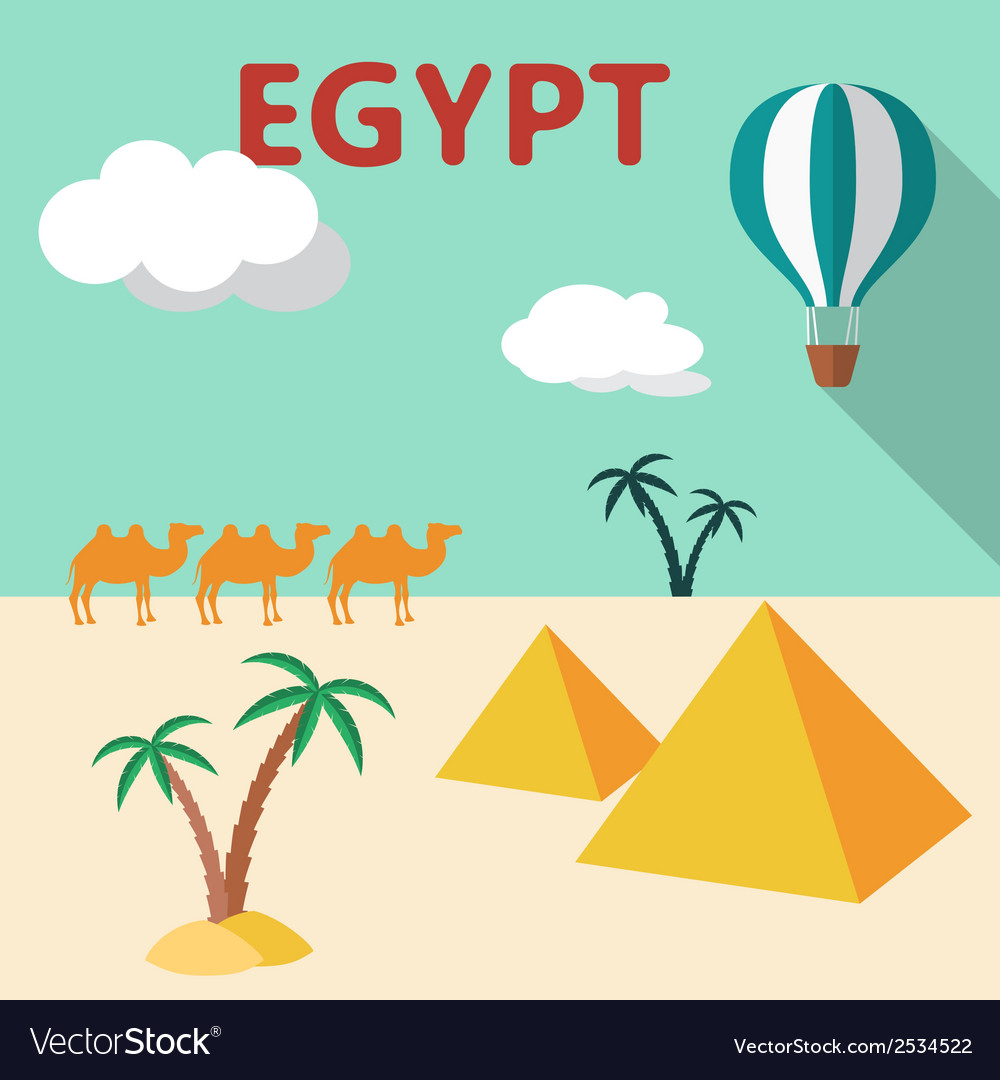 Egypt Travel flat design with palm tree pyramids