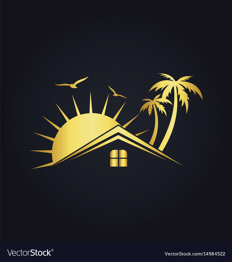 Hotel house tropic sunset gold logo vector image