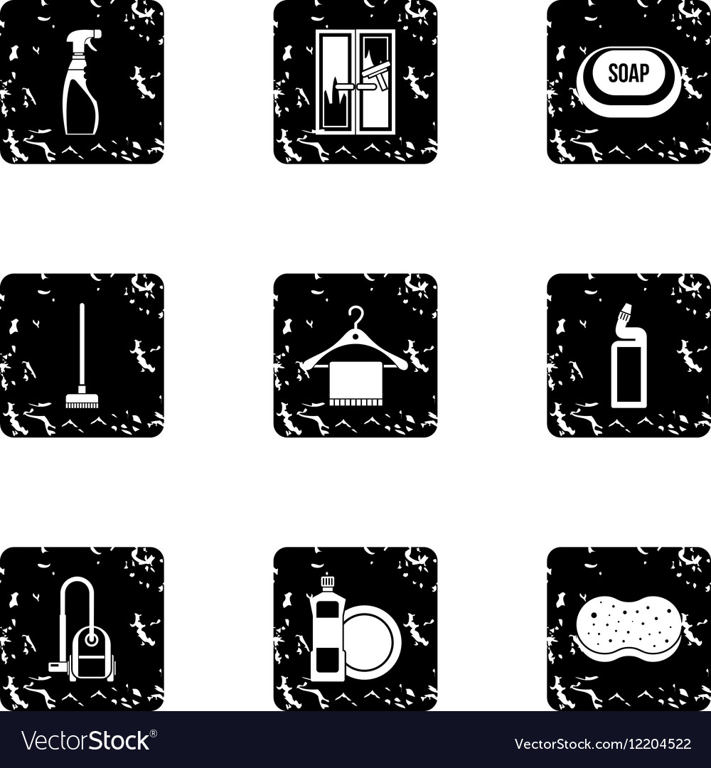 Maid service and house cleaning icons set vector image