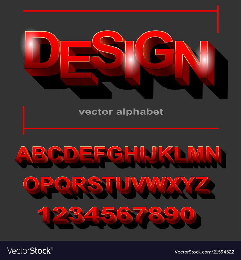 Modern red font design for typography on grey