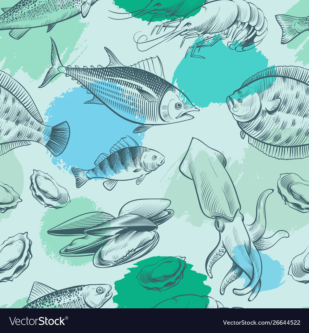 Sealife seamless pattern with grunge elements