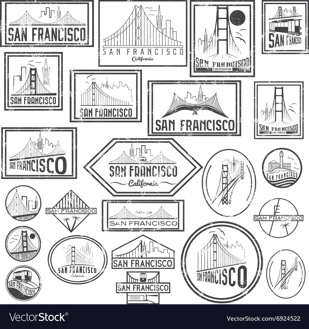 Set grunge badges with San Francisco skyline vector image