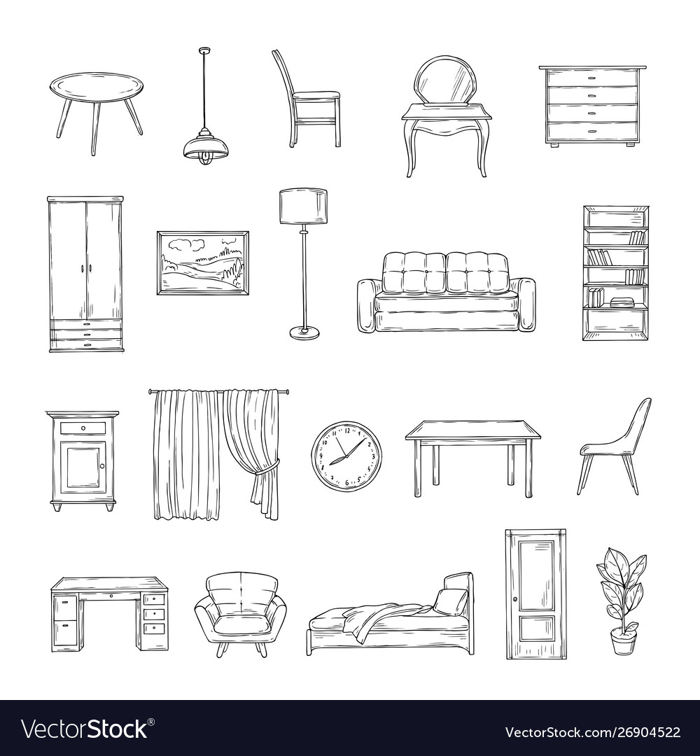 Sketch furniture bookcase and chairs sofa and