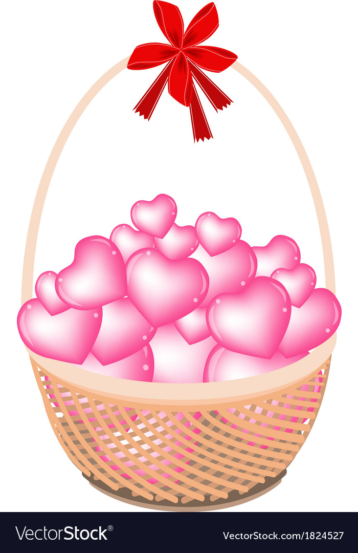 A brown basket stack hearts