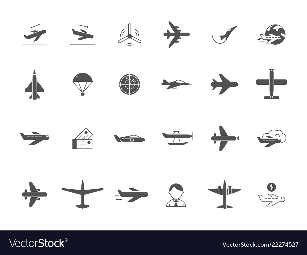 Airplane black icons jet aircraft military forces