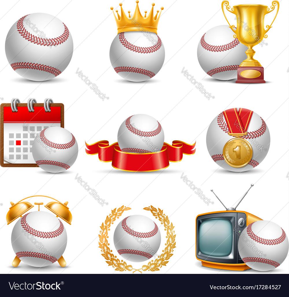Baseball ball icon set