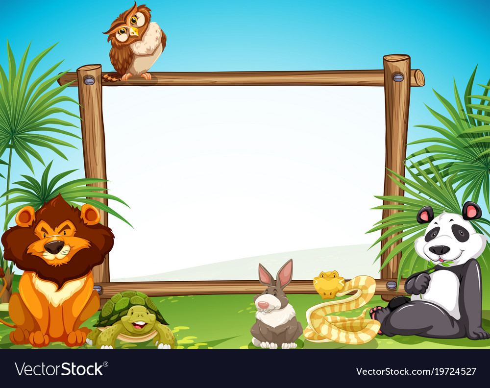 border templae with wild animals in background vector image