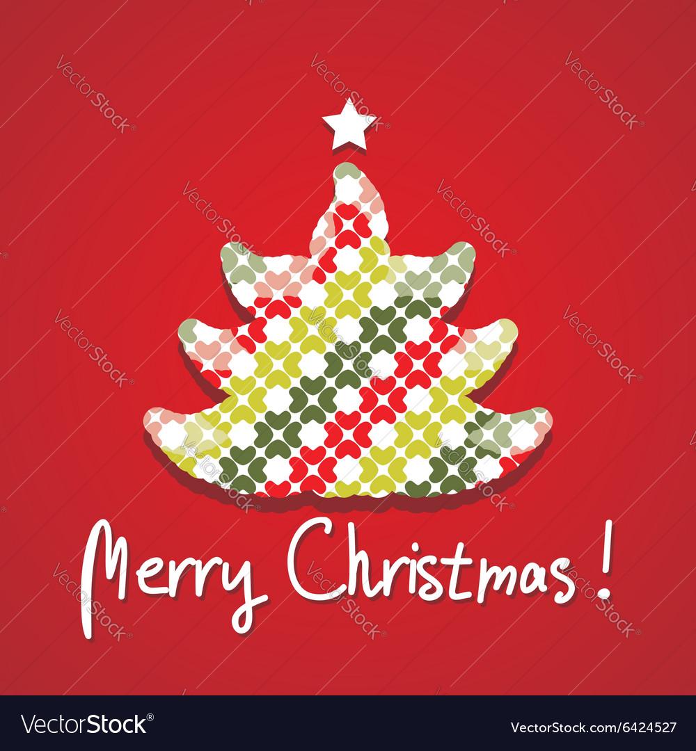Christmas tree silhouette postcard vector image
