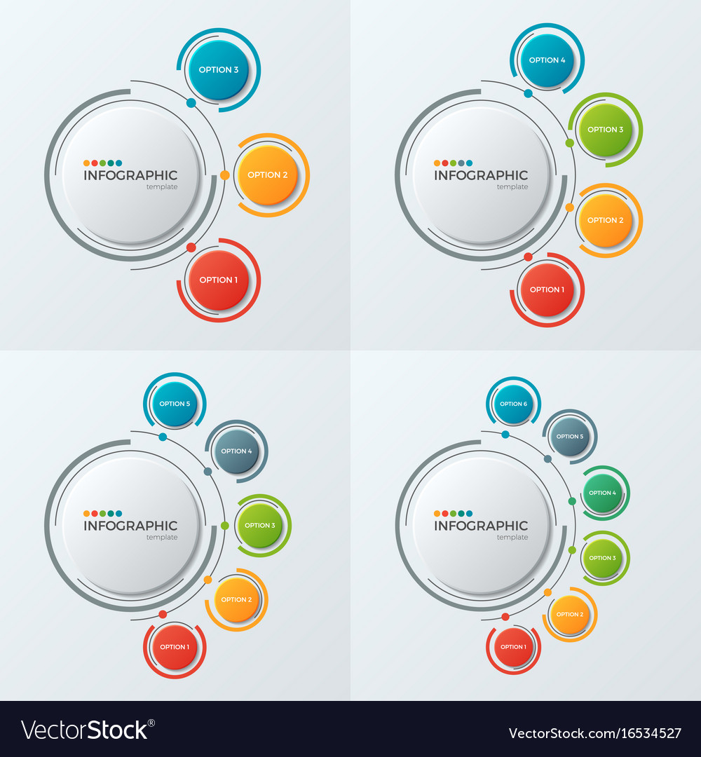 Circle chart infographic templates with 3-6 vector image