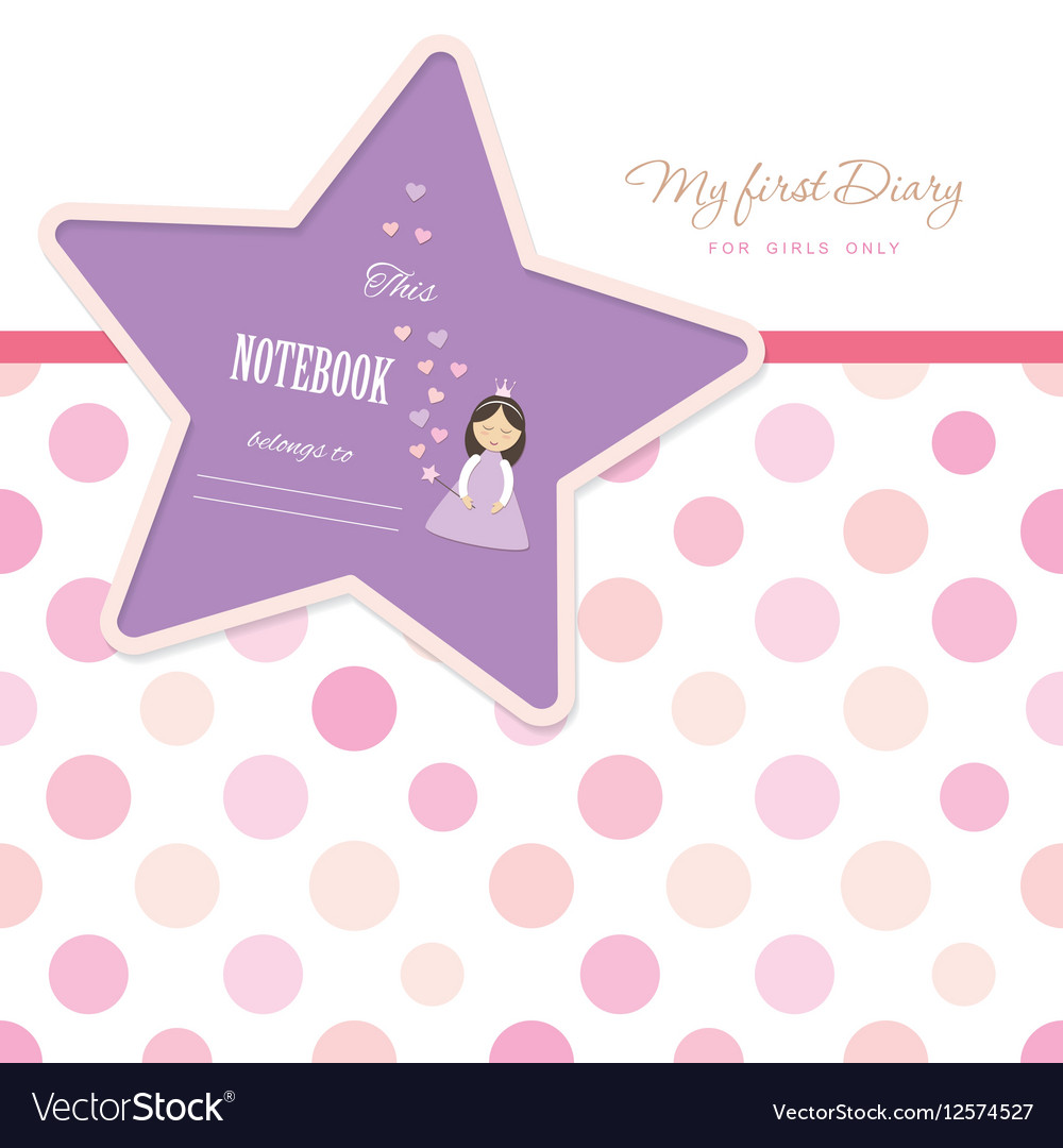 cute template for notebook cover for girls my vector image