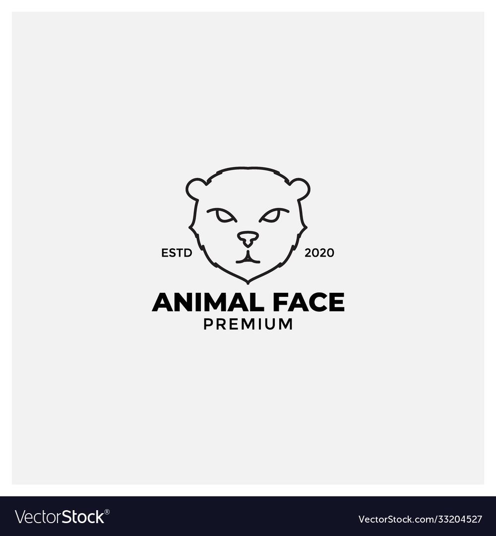 Forest cat or wildcat line modern logo design