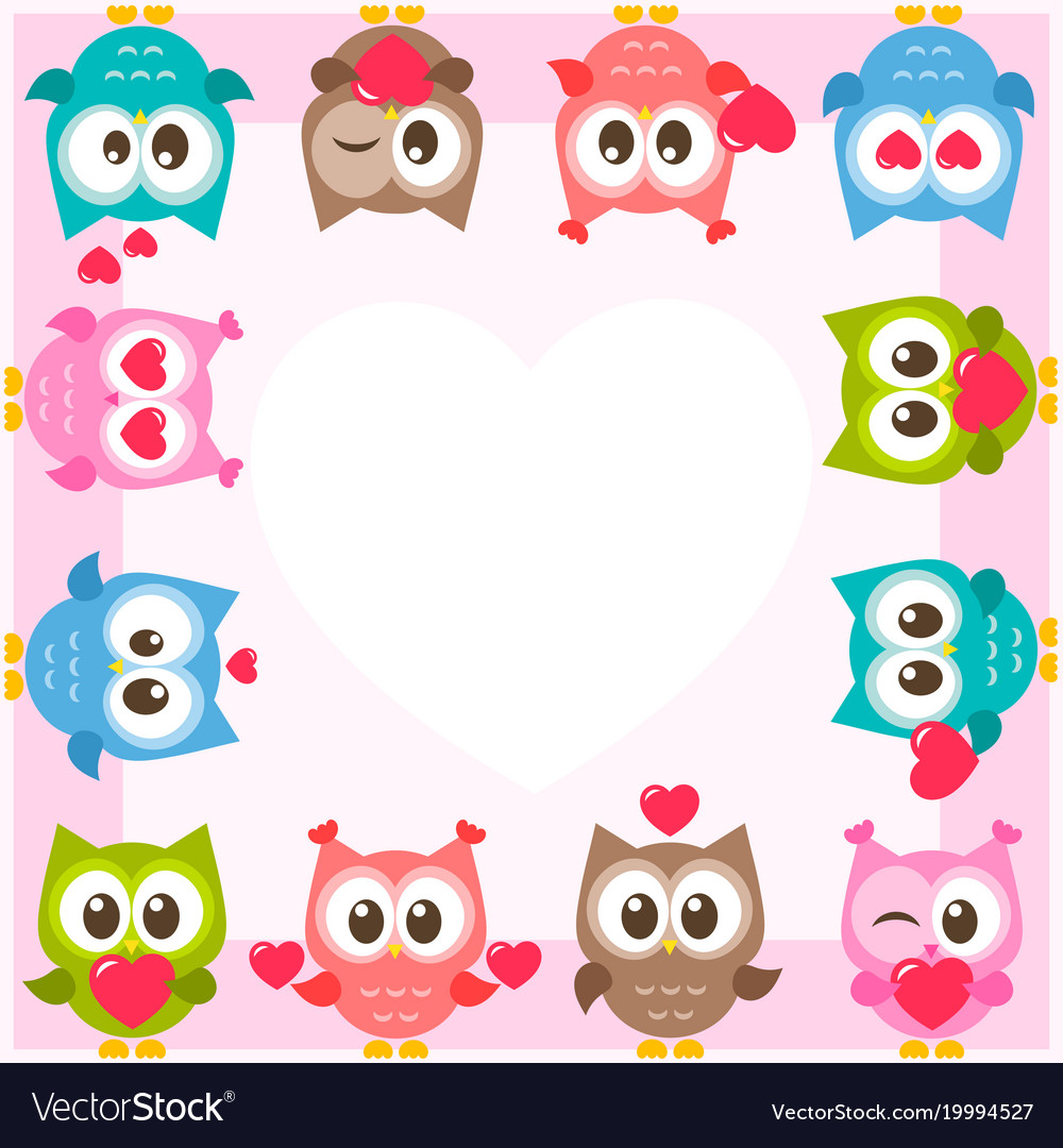 Frame with cute owls and hearts Royalty Free Vector Image