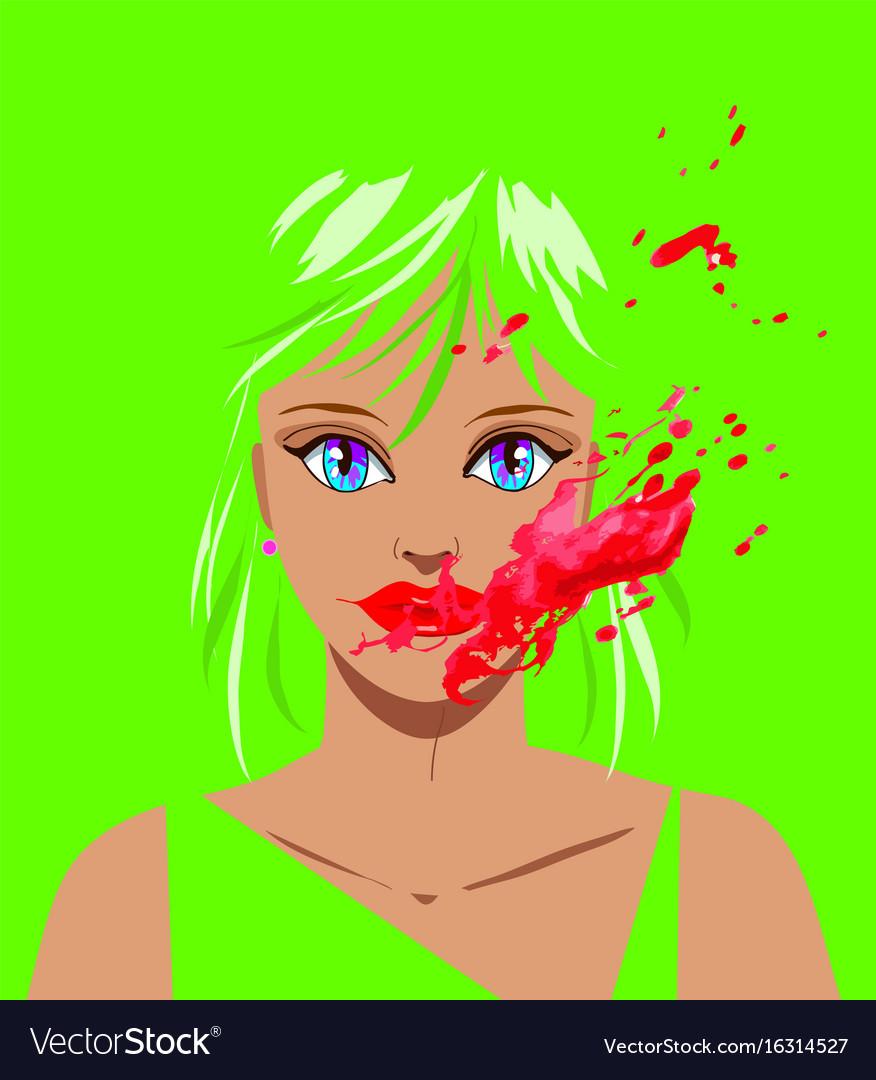 Horror clown beautiful woman vector image