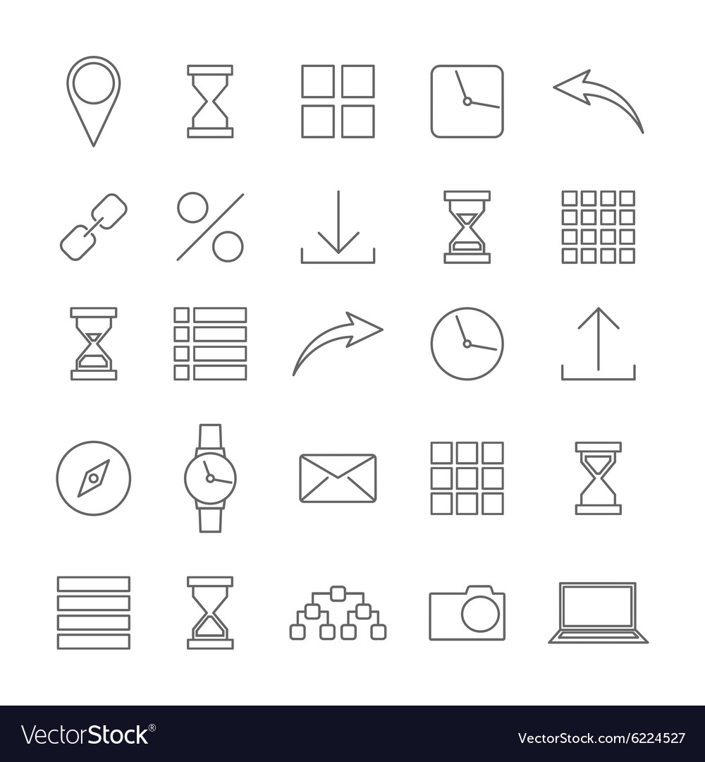 Icons of thin lines vector image