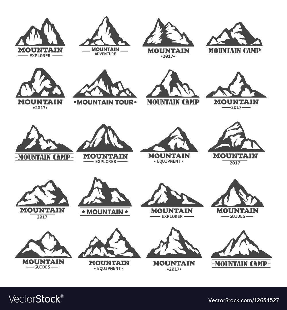 Isolated set of winter mountains silhouettes