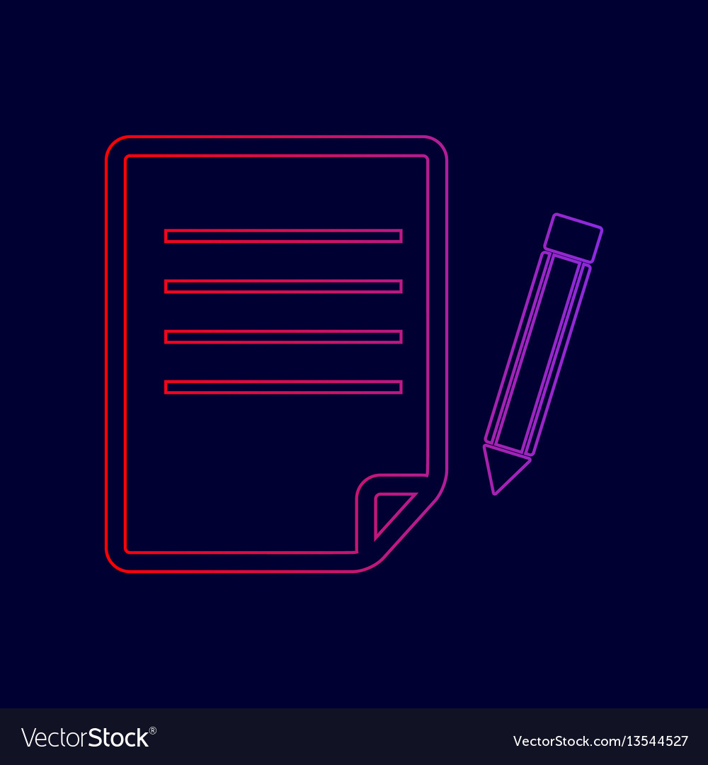 Paper and pencil sign line icon with