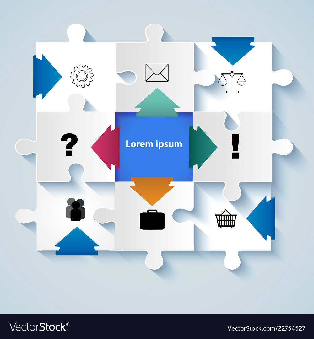 Puzzle with icons for business concepts