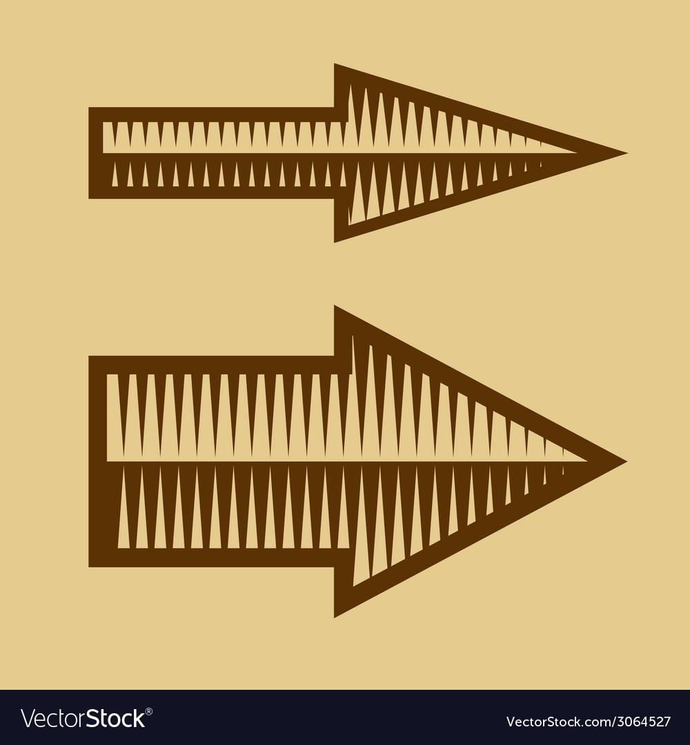 Set of Trendy Vintage Arrows on Old Paper vector image
