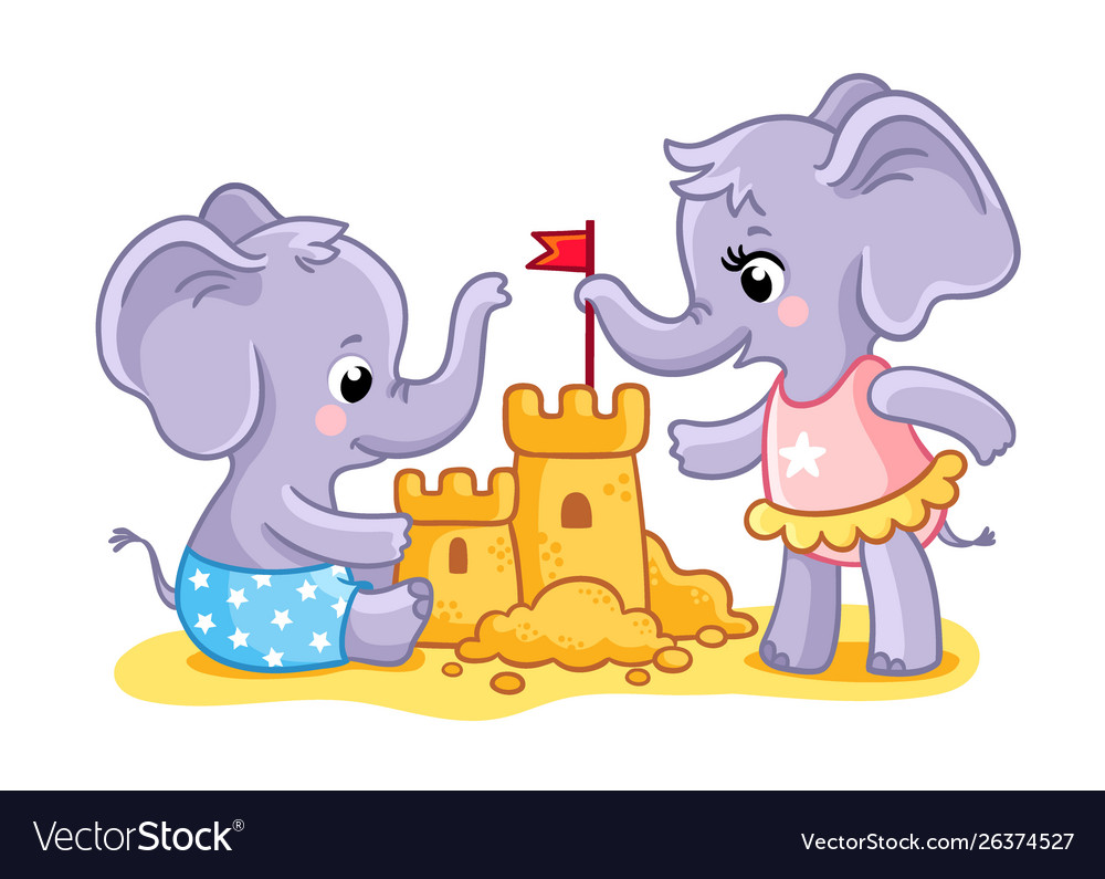 The elephants are playing on beach in sand