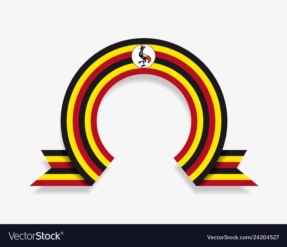 Ugandan flag rounded abstract background