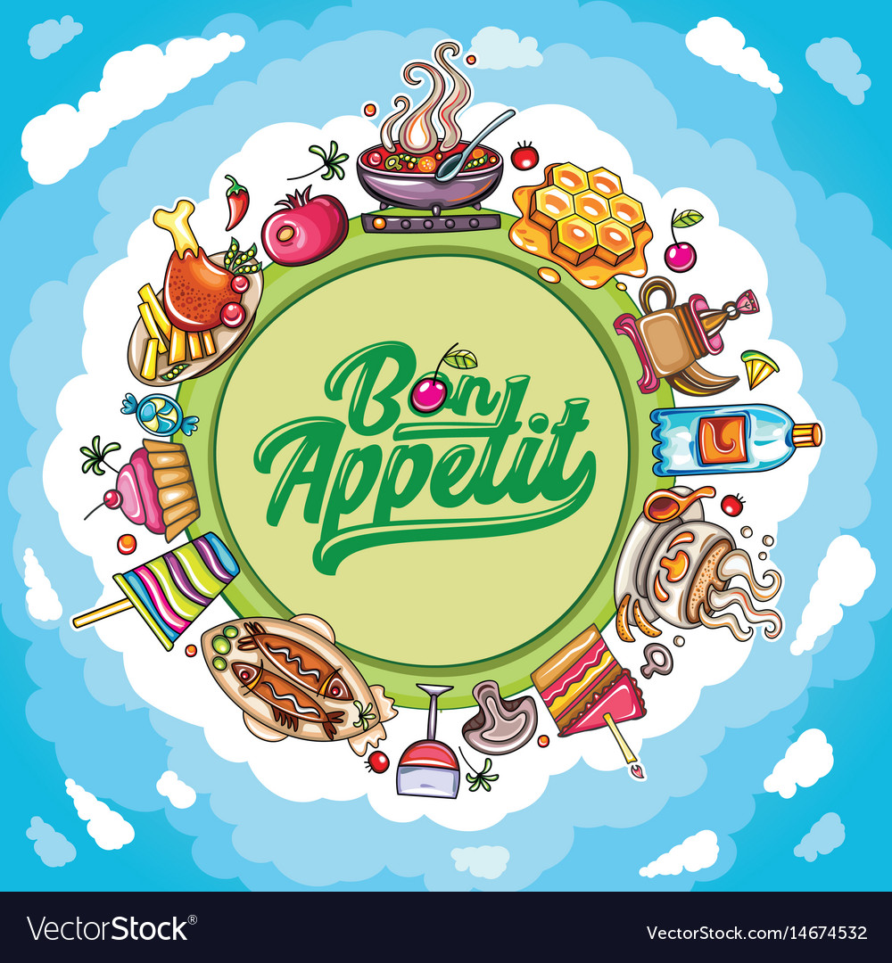 Cartoon frame food and drink planet with vector image