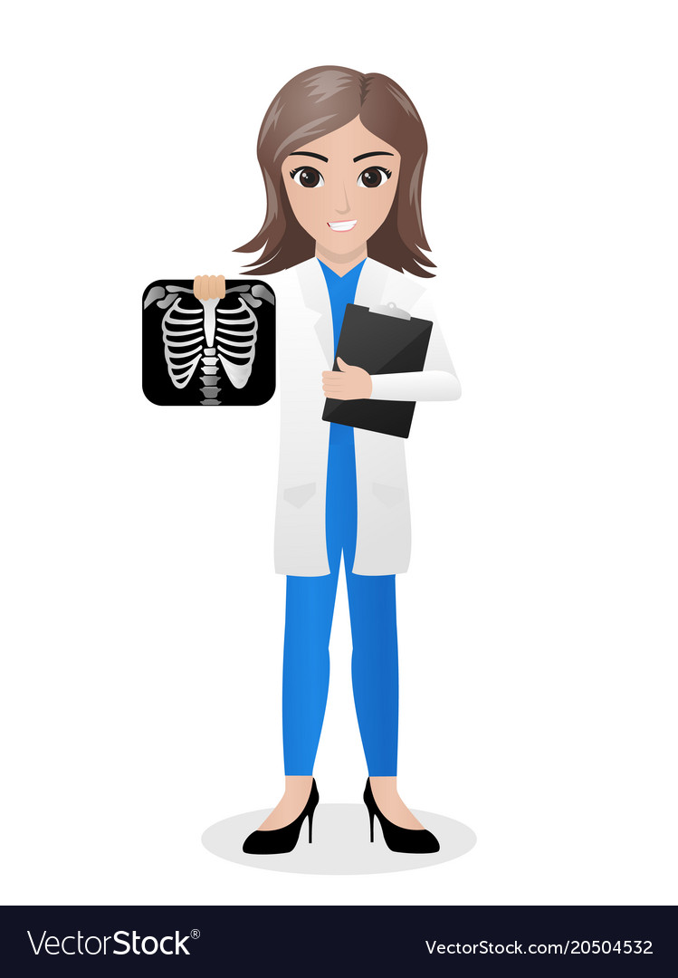 Female Radiologist Holding Radiograph And Clipboar