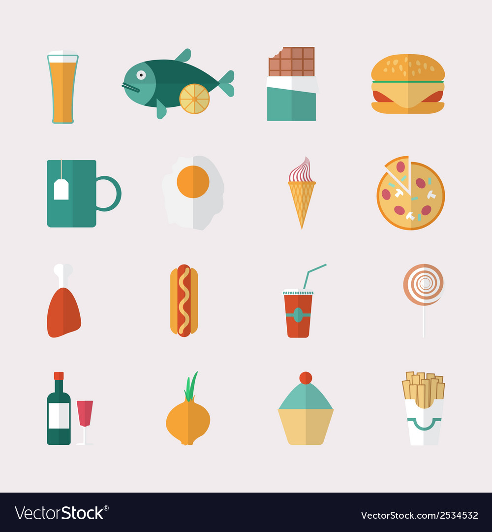 Food icons - flat style vector image