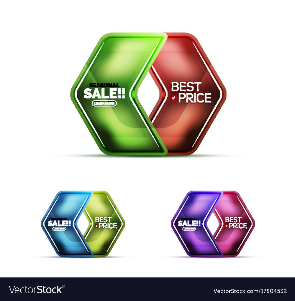 Glossy glass geometric arrow price sale web label