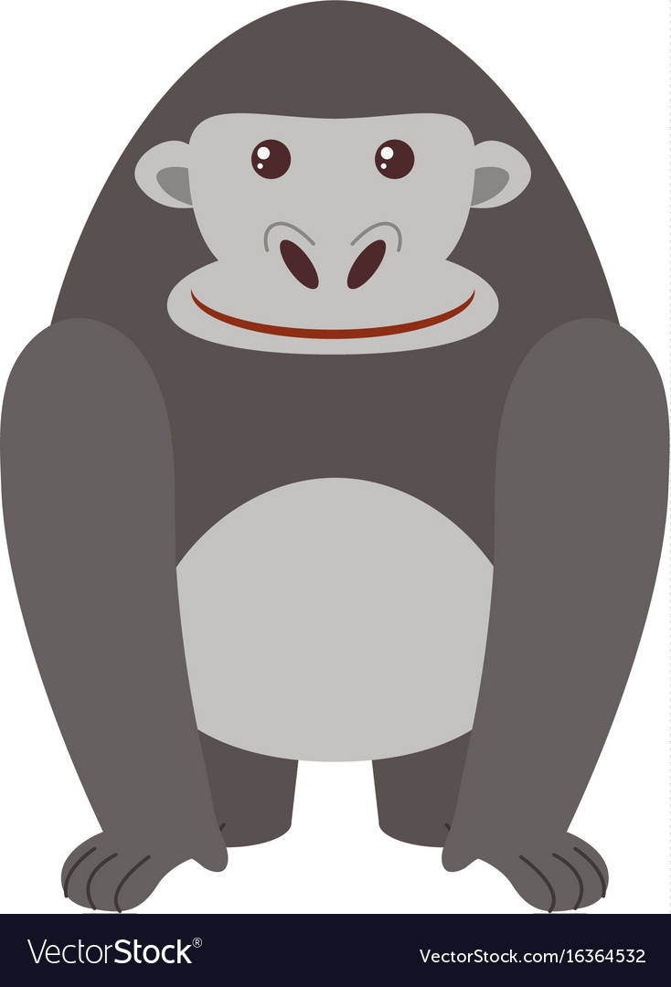 Gray gorilla on white background vector image