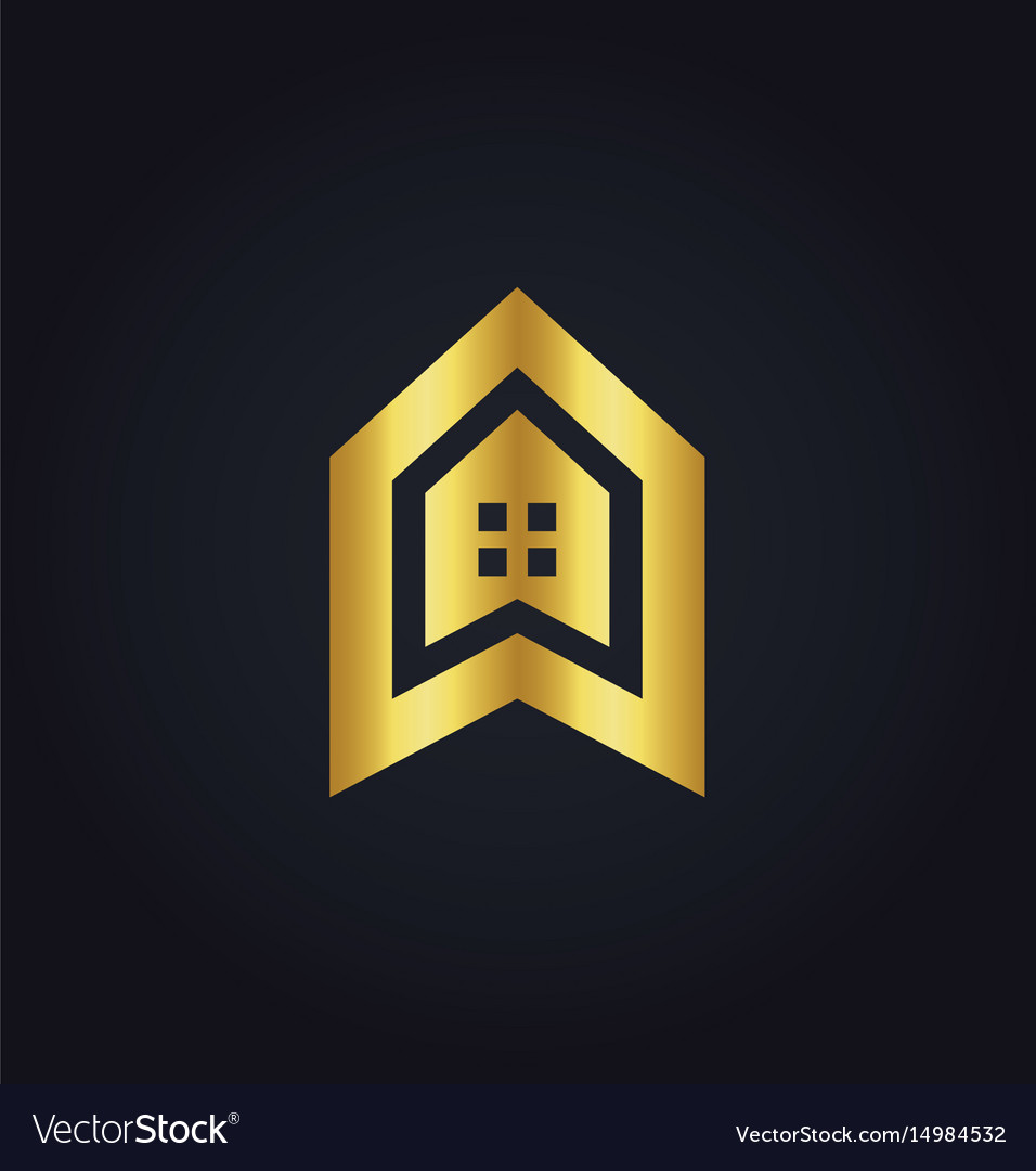House icon building gold logo