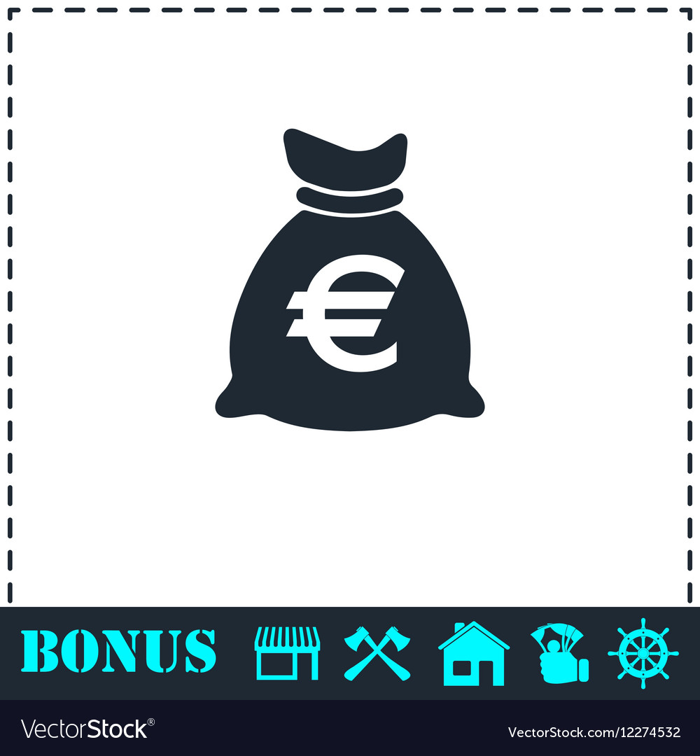 Money bag icon flat vector image