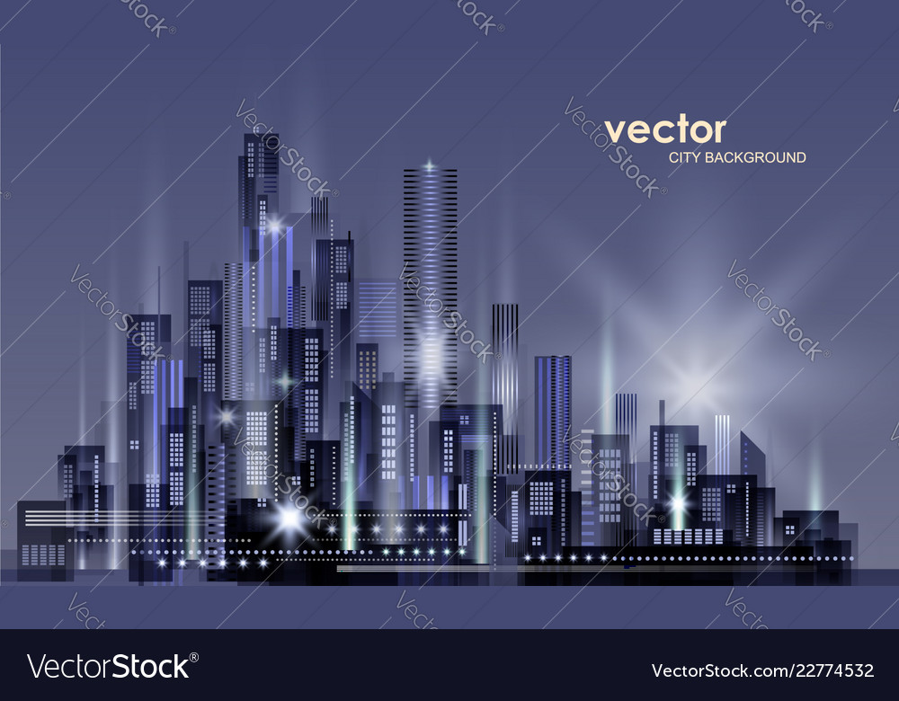 Night city background with glowing lights